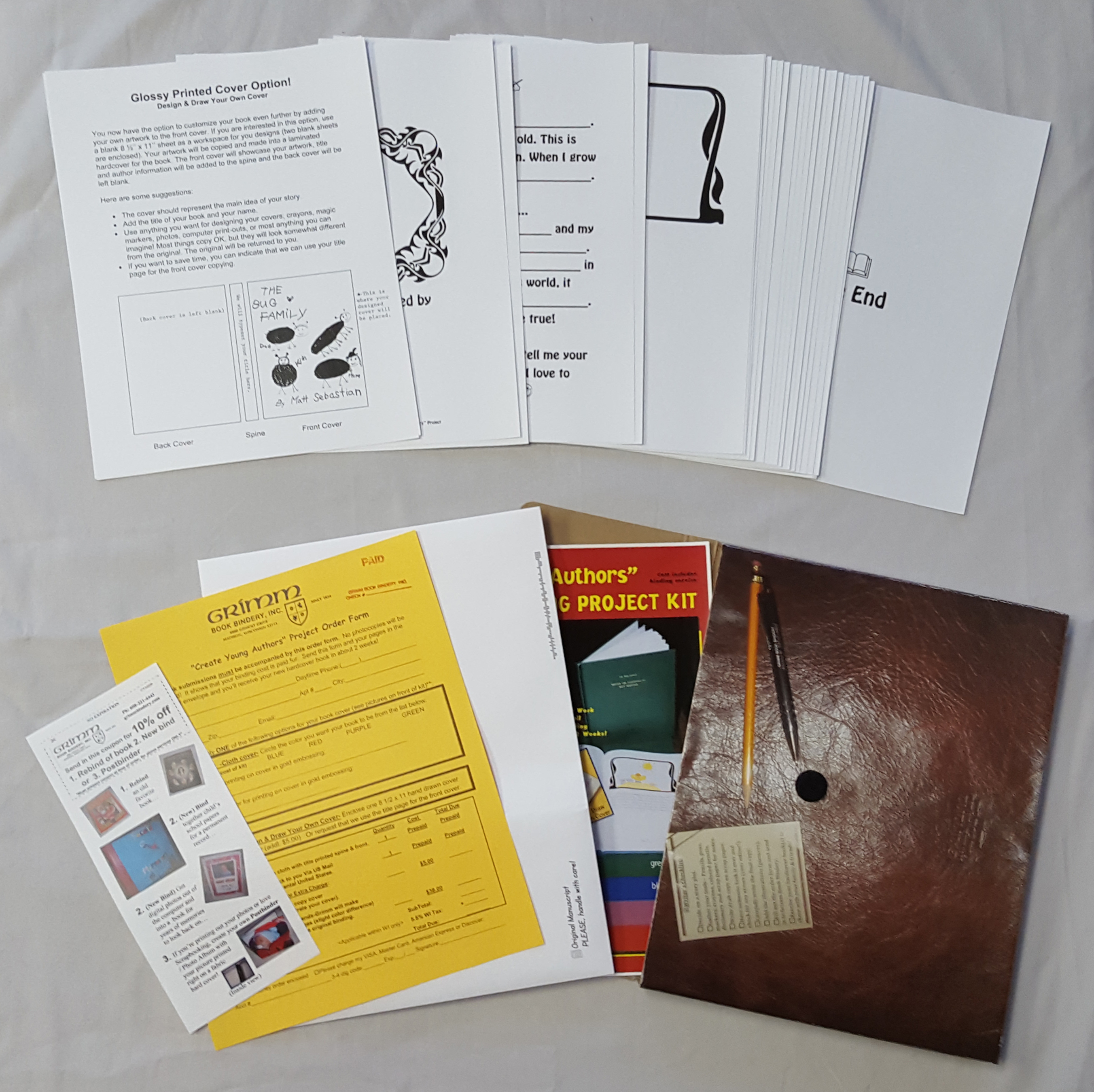 create young authors bookmaking project kit grimm book bindery inc cya